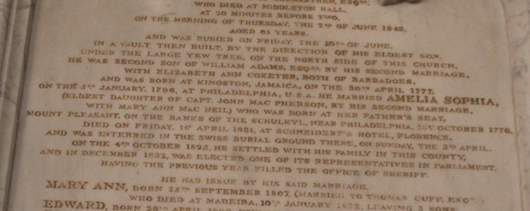Family history on Adams memorial